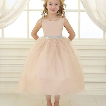 Champagne Satin and Tulle Flower Girl Dress