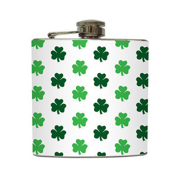 St Patrick's Day Flask Irish Shamrocks 4 Leaf by LiquidCourage