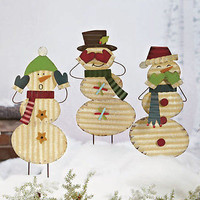 New Set Of 3 Snowmen Yard Stakes Christmas Holiday Outdoor Decor