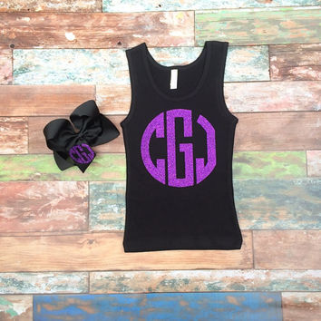 Glitter Monogram Tank Top and Monogrammed Hair Bow, Monogrammed Gifts, Cheerleaders, Cheer Camp Tank Top, Big Cheer Bow