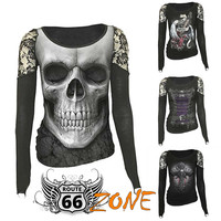 Rock-n-Roll Biker Chick Lace Shoulder Graphic Women's Tees - Plus Sizes