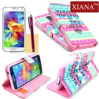 Galaxy S5 Case, XIANA Newfangled Aztec Tribal Keep Calm and Hakuna Matata Print Magnet Flip Leather Case Cover Protector with Credit Card Slots,Stylus,Screen Protector and Cleaning Cloth Suitable For Samsung Galaxy S5 i9600