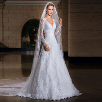 New V-neck Long Sleeve White Lace Wedding Dresses Custom-Made