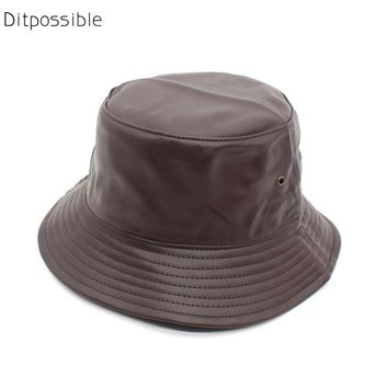 Ditpossible faux leather bucket hats unisex casual flat caps for men women
