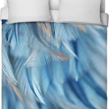 Blue Feathered Duvet Cover