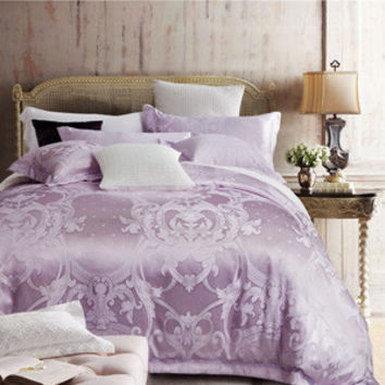Bohemian style print silk cotton jacquard duvet cover set light violet linens 4pcs Queen/King size bedding sets