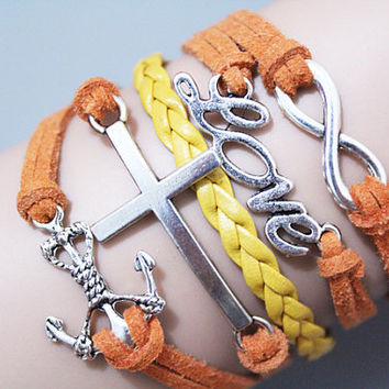 Anchor charm bracelet & love motto,Cross charm,Infinity symbol charm ,The best present