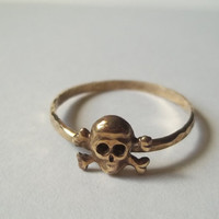 Gold Skull Ring, Hammered Gold Fill Pirate Ring, Handforged Unisex Ring, Skull and Crossbones