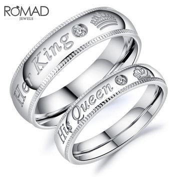 Couple Rings Her King His Queen Stainless Steel Wedding Engagement Rings for Women Men Lover Jewelry anel bijoux femme Z45
