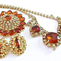 Juliana D&E Necklace Brooch Earrings Set Parure Rootbeer Brown Lemon Yellow Vintage Rhinestones