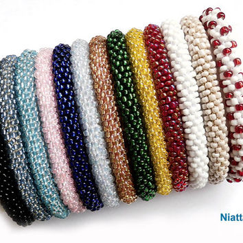 Roll On Beaded Bracelet 13 colors Crochet Rope Bangle Niatta