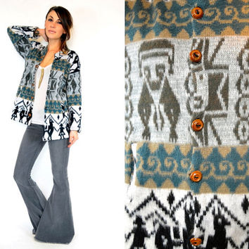 PERUVIAN ethnic hippie BOHEMIAN south american sweater JACKET, extra small-small
