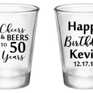 50th birthday shot glasses, personalized birthday party favors