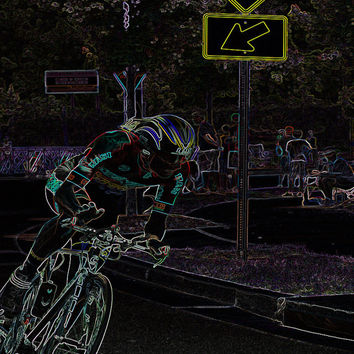 Solo II Negative  Neon U.S Cycling III 8x10 Abstract Photography Print Cycling Sport Photography