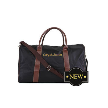 Personalized Nylon and Faux Leather Designer Inspired Travel Duffle For Him  Receive Free Monogramming With Purchase