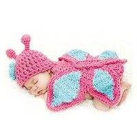 Butterfly Knit Hat Outfit Newborn Photo Prop - CCA63
