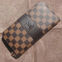 LV Stylish Women Men Leather Single Zipper Handbag Wallet Purse Brown Plaid