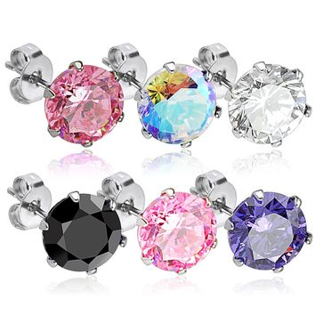 Round CZ 316L Surgical Stainless Steel Stud Earrings