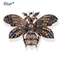 RHao Unisex Flying Insect brooches Red Eyes retro Gold color Rhinestone bee brooch pins honeybee corsage 3 colors clothes broach