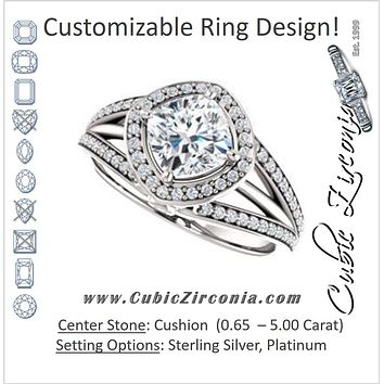 Cubic Zirconia Engagement Ring- The Hanna Jo (Customizable High-set Cushion Cut Design with Halo, Wide Tri-Split Pavé Band and Round Bezel Peekaboo Accents)