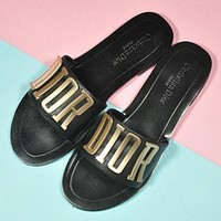 DIOR Popular Woman Beach Home Simple Letter Sandals Slipper Shoes Black I