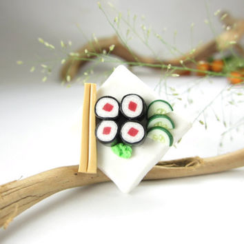 White Tuna Maki Sushi Ring  - polymer clay food jewelry , food ring