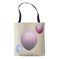 Seashells are on back and front of tote bag.