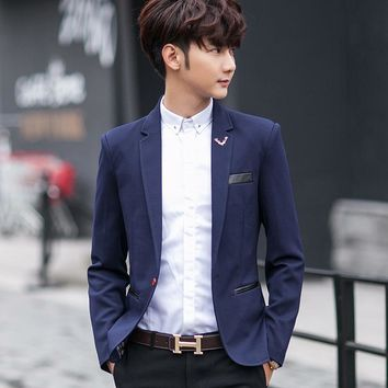 Spring Slim Fit Men Blazers And Suit Jackets Solid Color Single Button