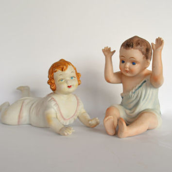 Baby Porcelain Figurines, Bisque Piano Babies, 1920's ORIGINAL ARTMARK. Hand Painted Bisque Dolls, Nursery Decor, Collectible