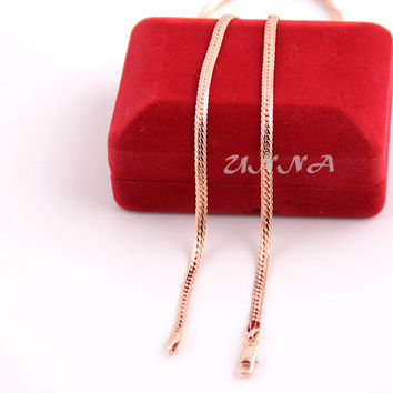 New 3mm Herringbone Snake Chain Man Woman Rose Gold Plated Filled Necklace UN004042907