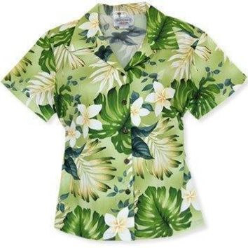 amazon green hawaiian lady blouse