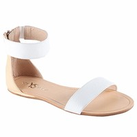 Yosi Samra Cambelle Sandals in Biscotti/White