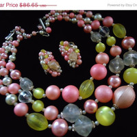 35% Off Sale Vintage Pink Yellow Beaded Necklace Signed Japan Collectible Retro Rockabilly Glam Jewelry