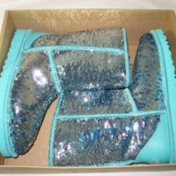 NEW UGG AUSTRALIA Classic Short Sparkles TURQUOISE Sequins Shimmer BOOTS 6,7,10