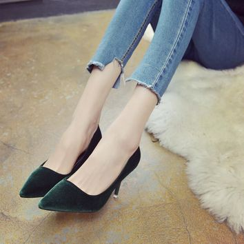 SLHJC 2017 Spring Velvet High-Heeled Shoes Pointed Toe Thin Heels Elegance 6 CM Women