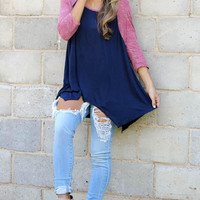 Red And Blue Sleeve Asymmetrical Shirt