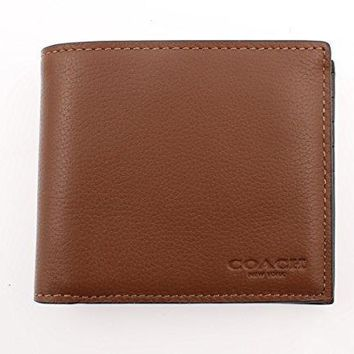 Coach Compact Id Wallet In Sport Calf Leather (dark Saddle) F74991 Cwh