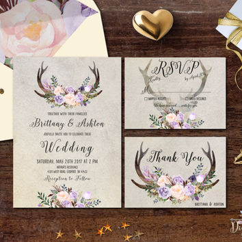 Rustic Wedding Invitation Printable Antler Wedding Invitation Suite Lavender Blush Moss Floral Wedding Invite Boho Woodland Wedding Set