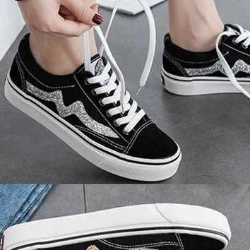 Faux Suede Sneakers With Glitter Flash - 2 Colors