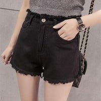 DCCK6HW Fashion Casual High Waist Worn Tassel Women Loose Denim Shorts Hot Pants Jeans