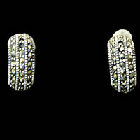 Petite Sterling Silver Marcasite Half Hoop Earrings Posts for Pierced Ears Hallmarked 925 and Signed