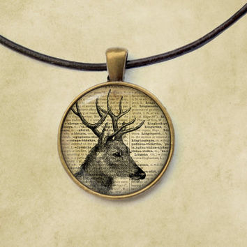 Deer pendant Animal jewelry Stag necklace Vintage style