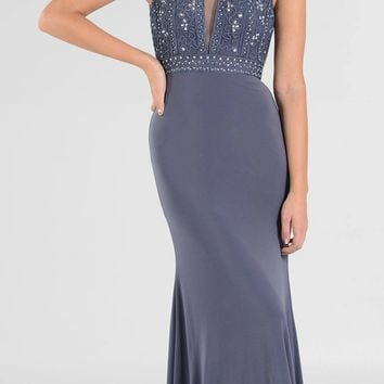 Sleeveless Embellished with Sheer Inset Bodice Long Formal Dress Gray