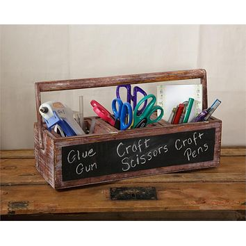 Wooden Tool Box Planter with Chalkboard Front
