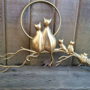 "Vintage brass Cat family full moon crazy cat lady kitty cat lover wall hanging 14"" long."