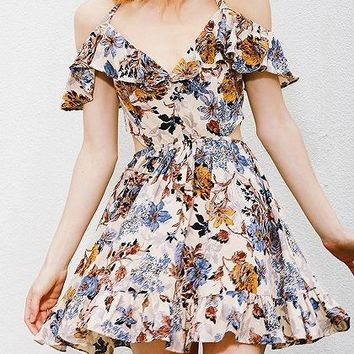 Multicolor Halter Floral Print Ruffle Skater Dress