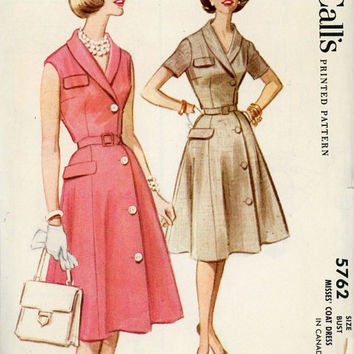 McCall's 5762 Sewing Pattern Vintage Retro Swing Rockabilly Style Garden Tea Dress Coatdress Shawl Collar Bust 36