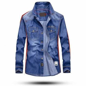 Casual Outdoor Soft Chest Pockets Loose Denim Cargo Shirts for Men