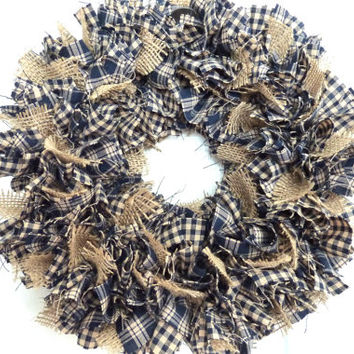 Small Rag Wreath Blue Homespun Fabric Burlap Country
