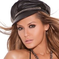 Leather Hat With Chain Detail